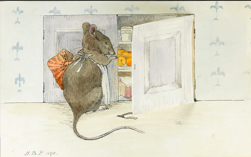 открытка мышка в кладовке
