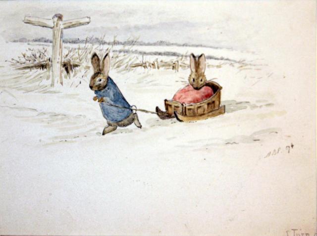 Кролик Питер и Бенджамин Банни играют в снегу